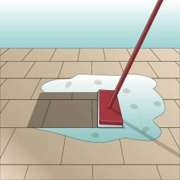 Icon Schmutz aufnehmen. Illustration Aufnehmen von Schmutzwasser von gefliester Oberfläche mit Feudel