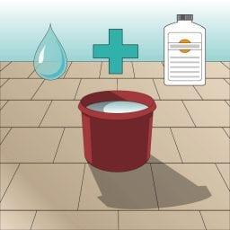 Icon Reinigungsmittel anmischen. Illustration Wassereimer mit Wassertropfen und Reinigungsmittel in Flasche