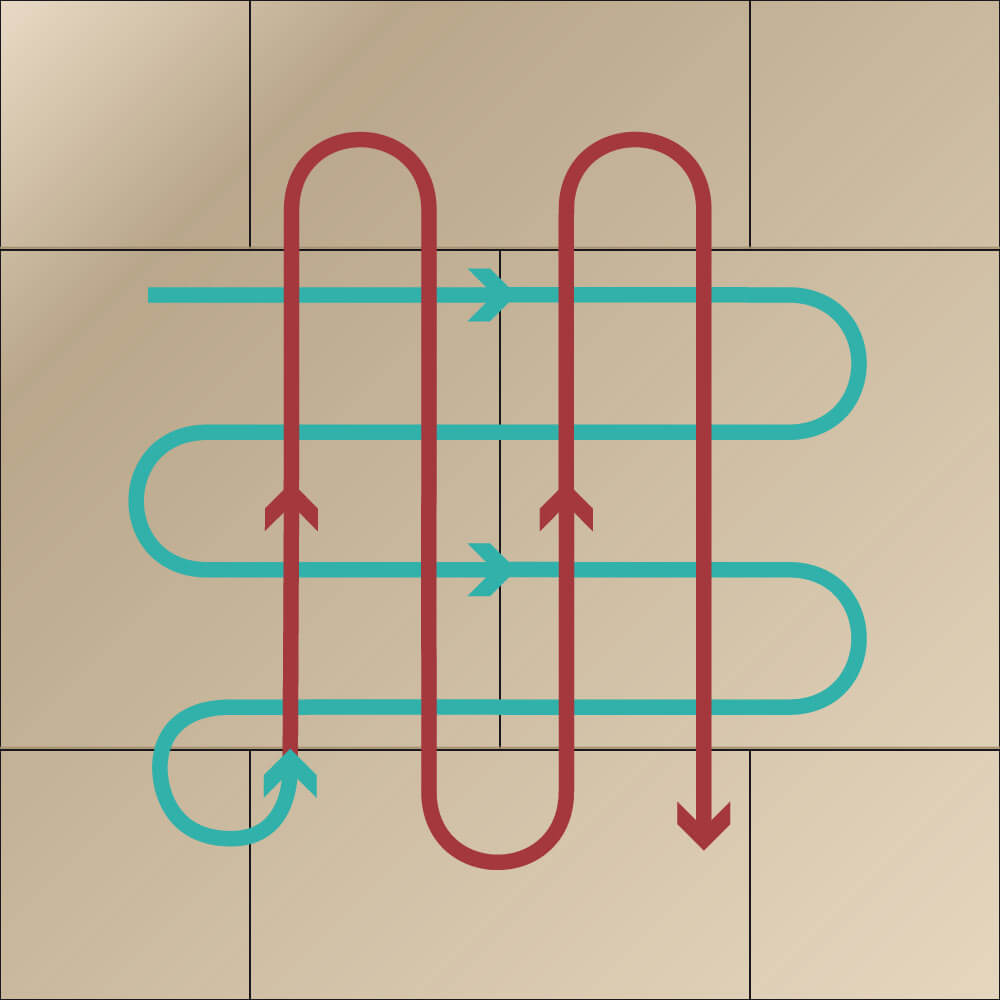 Illustration Kreuzstrichverfahren Pinselstriche erst horizontal, dann vertikal.