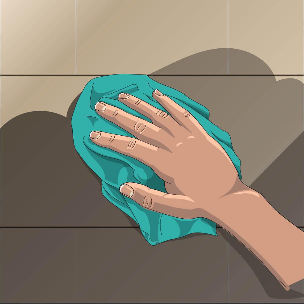 Illustration Hand mit Tuch nimmt Reinigungsmittel auf.